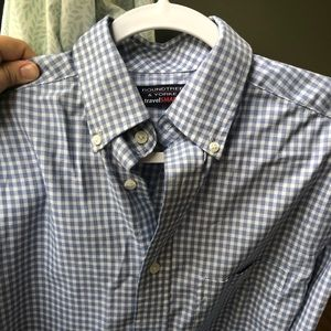 Blue and white checkered button front shirt